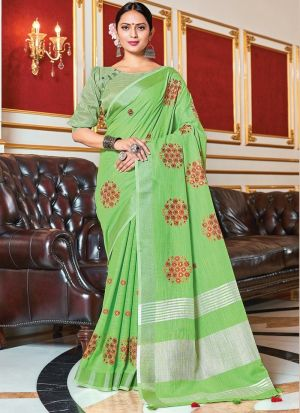 Light Green Saree With Embroidery Work