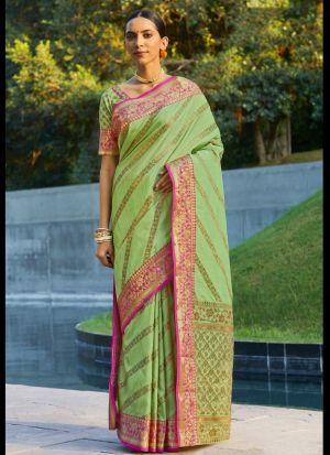 Light Green Weaving Silk Saree