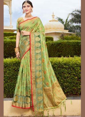 Light Green Weaving Work Saree