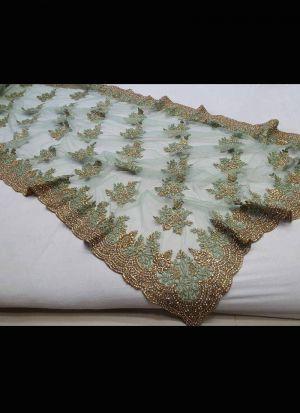 Light Mint Green Thread Work Saree