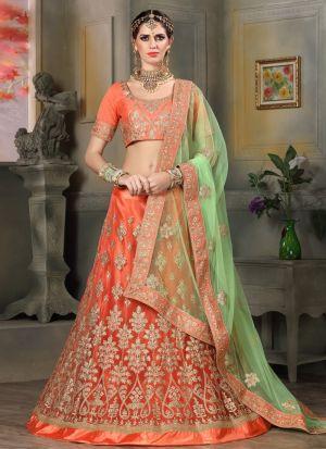 Light Orange Designer Wedding Lehenga Choli With Net Fabric