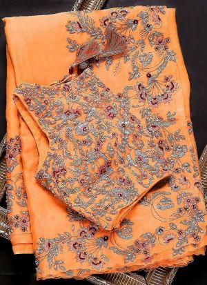 Light Orange Thread Work Organza Silk Saree