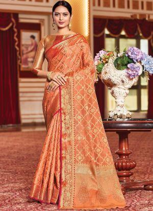 Light Orange Weaving Silk Saree