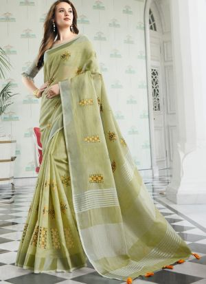 Light Parrot Women Wedding And Partywear Linen Cotton Saree