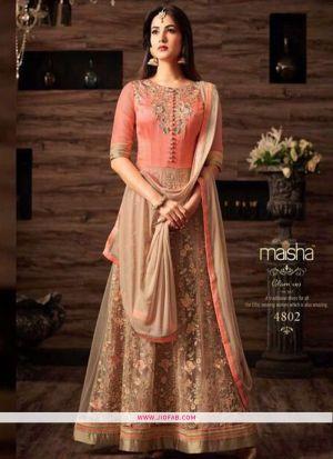 Light Peach Color Partywear Embroidered Designer Floor Length Salwar Suit