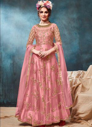 Light Peach Net Designer Floor Length Anarkali Suit