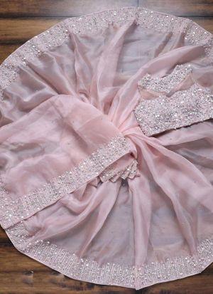 Light Peach Organza Silk Party Wear Saree