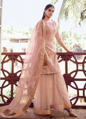 Light Peach Salwar Suit With Foil Mirror Work