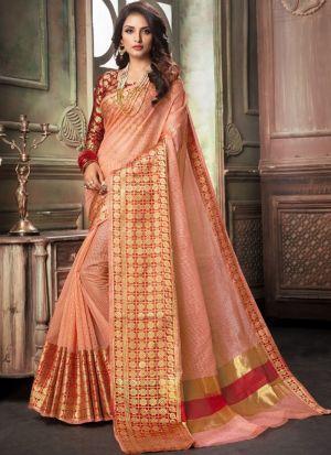 Light Peach Traditional Wear Saree In Kota Doria Checks Fabric