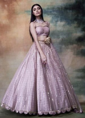 Light Pink Butterfly Net Lehenga For Party