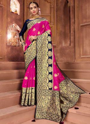 Light Pink Crystal Silk Festive Wear Traditional Saree