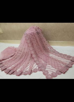 Light Pink Embroidery Work Saree