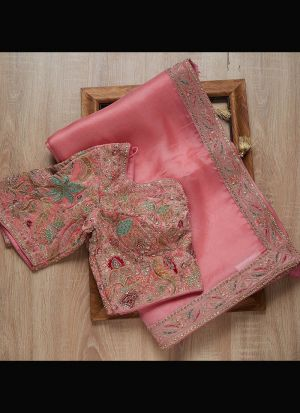Light Pink Heavy Organza Silk Thread Work Saree