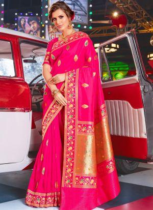 Light Pink Jacquard Silk Designer Traditional Saree For Wedding