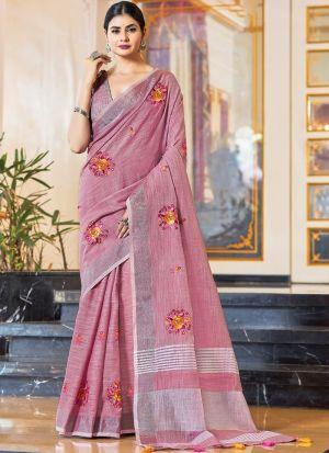 Light Pink Linen Embroidery Saree