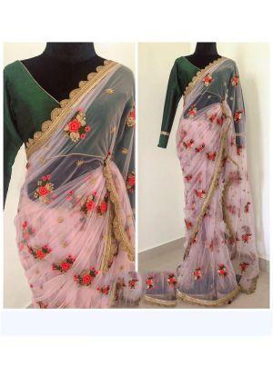 Light Pink Naylon Mono Net Designer Traditional Saree