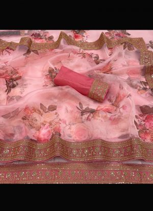 Light Pink Organza Silk Embroidery Saree