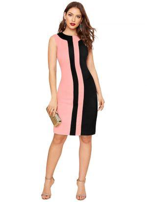 Light Pink Polyester Short Dress