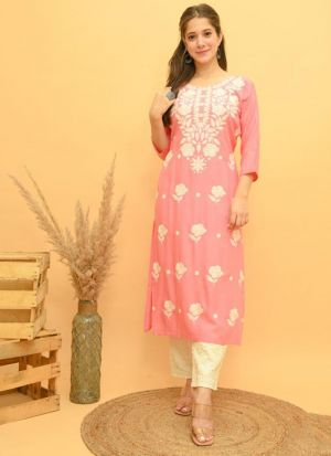 Light Pink Rayon Embroidery Suit