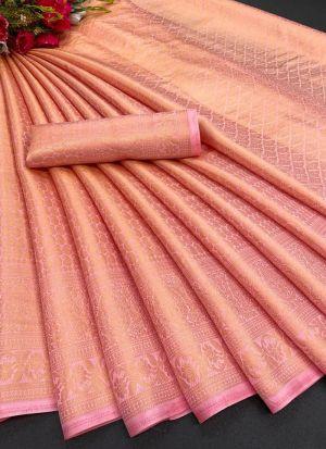 Light Pink Soft Silk Women Saree