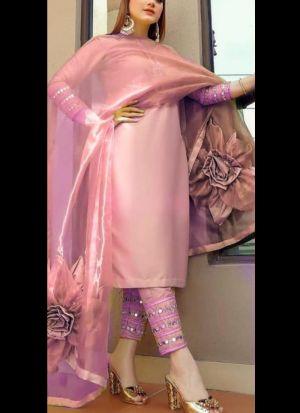 Light Pink Taffeta Silk Suit With Flower Dupatta