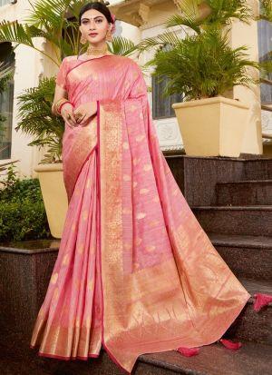 Light Pink Weaving Silk Saree