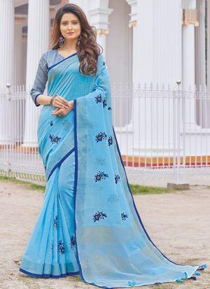 Light Sky Blue Linen Cotton Indian Traditional Saree