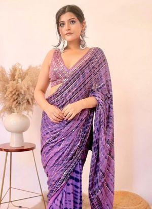 Lilac Color Georgette Fancy Saree For Women