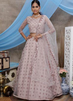 Lilac Traditional Wear Sequince Work Fancy Lehenga Choli