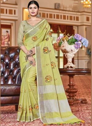 Lime Green Linen Embroidery Saree