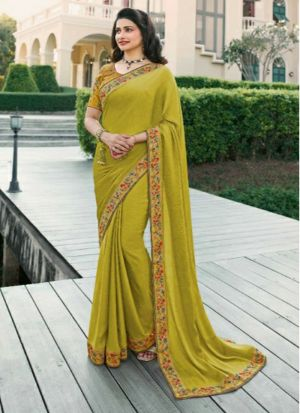 Lime Printed Vichitra Silk Designer Saree