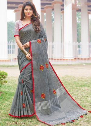 Linen Cotton Grey South Indian Saree