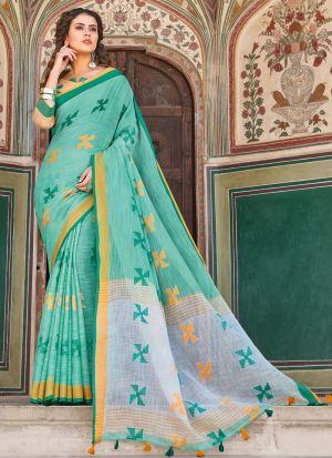 Linen Cotton Light Green South Indian Saree
