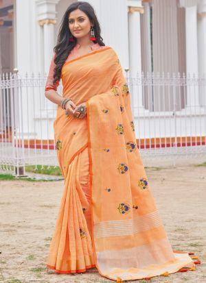 Linen Cotton Light Orange Color Indian Wear Saree