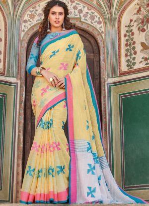 Linen Cotton Light Yellow Indian Wear Saree