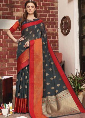 Linen Silk Black Festive Wear Indian Traditional Saree