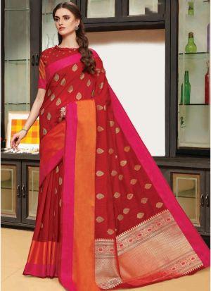 Linen Silk Maroon Designer Traditional Saree