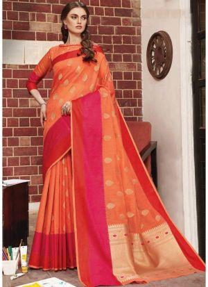 Linen Silk Orange Festive Wear Indian Traditional Saree