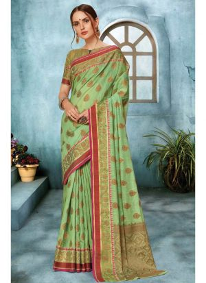 Linen Silk Parrot Indian Saree Collection