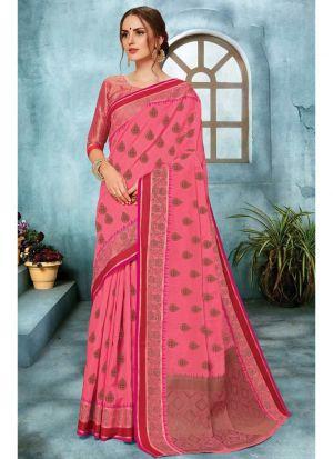 Linen Silk Salmon Pink Traditional Designer Saree Collection