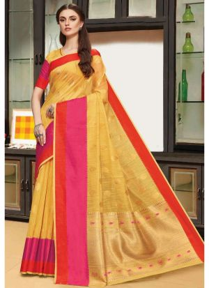 Linen Silk Yellow Designer Traditional Saree
