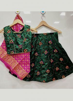 Lovely Dark Green Kit Kat Silk Kids Lehenga Choli