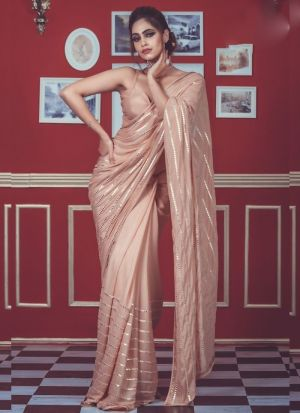 Lovely Dusty Rose Foil Mirror Work Saree