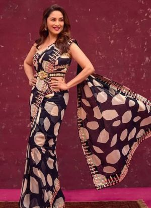 Madhuri Dixit Black Georgette Printed Saree