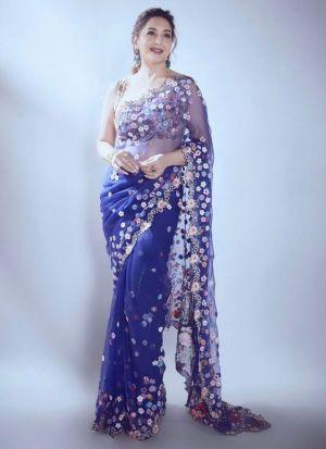 Madhuri Dixit Blue Georgette Saree