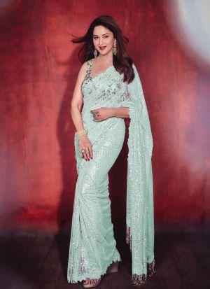 Madhuri Dixit Light Green Saree