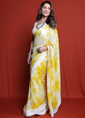 Madhuri Dixit Style Yellow Digital Printed Saree