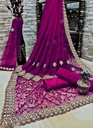 Magenta Banglori Silk Embroidered Saree