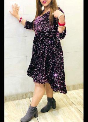 Magenta Heavy Velvet Western Dress