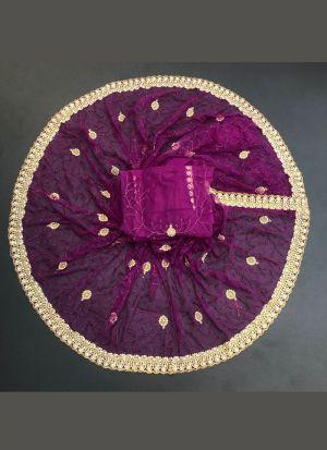 Magenta Net Wedding Saree